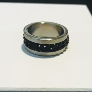 Men's Stainless Steel Ring With Black Curb Chain